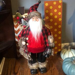 NWT 18' Santa with plaid red coat and lantern
